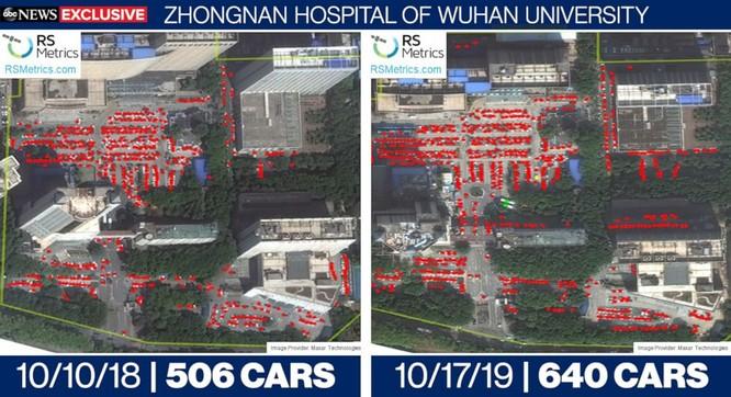 So sánh lưu lượng xe tại bệnh viện Zhongnan, Vũ Hán vào trung tuần tháng 10 của hai năm 2018 và 2019 (Ảnh: ABC News)