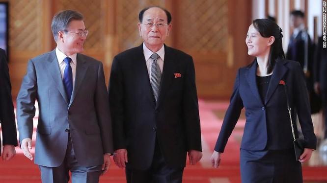 Ông Moon Jae-in, ông Kim Yong Nam và bà Kim Yo Jong tại buổi tiếp đón tại Nhà Xanh ngày 10/2/2018 (Ảnh: CNN)