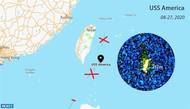 Vị trí tàu tấn công đổ bộ USS America ở ngoài khơi phía Đông Đài Loan (Ảnh: SCSPI)