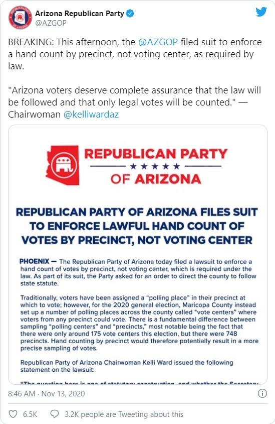 """Chủ tịch đảng Cộng hòa Arizona: """"Kỳ bầu cử này còn lâu mới kết thúc!"""" ảnh 1"""