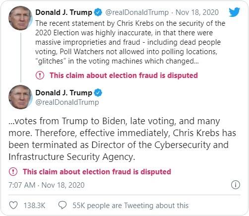 """""""Lệch sóng"""" với ông Trump về cáo buộc gian lận bầu cử, Giám đốc An ninh mạng bị sa thải """"tức thì"""" ảnh 1"""