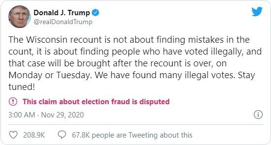 """Tổng thống Trump: """"Chúng tôi phát hiện rất nhiều phiếu bầu phi pháp"""" ảnh 1"""