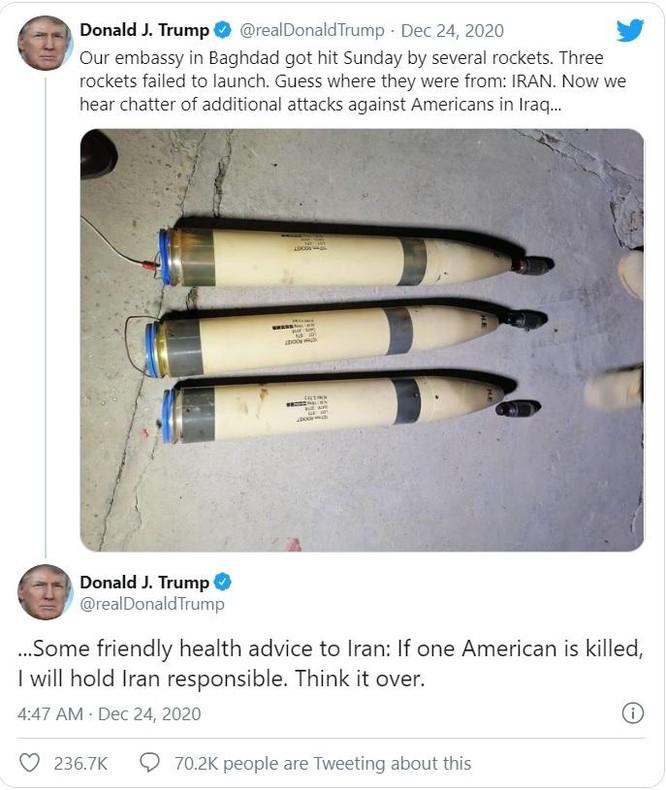 """TT Trump: """"Nếu có một người Mỹ bị giết, tôi sẽ bắt Iran chịu trách nhiệm"""" ảnh 1"""