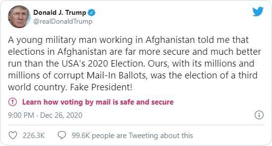 """""""Bão tweet"""" của TT Trump: Bầu cử ở Afghanistan còn tốt hơn ở Mỹ... ảnh 1"""