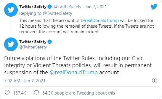 """TT Trump bị khóa tài khoản Twitter, Ivanka gọi người biểu tình là """"yêu nước"""" ảnh 1"""