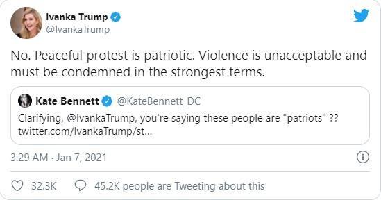 """TT Trump bị khóa tài khoản Twitter, Ivanka gọi người biểu tình là """"yêu nước"""" ảnh 2"""