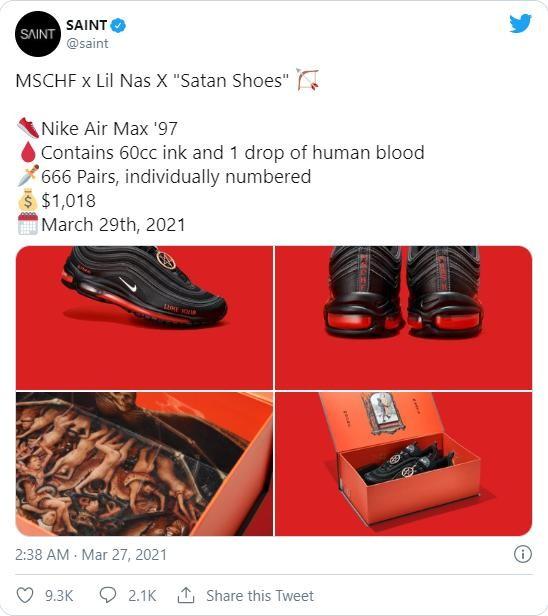 """Sốc với mẫu giày chứa máu người mang tên quỷ """"Satan"""" ảnh 1"""