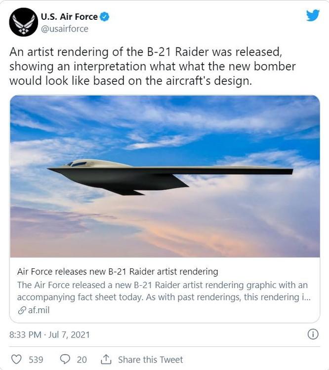 """Không quân Mỹ """"trêu ngươi"""" Trung Quốc bằng bức ảnh nghệ thuật máy bay ném bom B-21 Raider ảnh 1"""