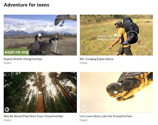 Những video đa dạng chủ đề trên Camp YouTube.