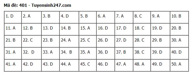 Tra cứu online đáp án đề thi tốt nghiệp THPT 2020 môn tiếng Anh mã đề 401 ảnh 1