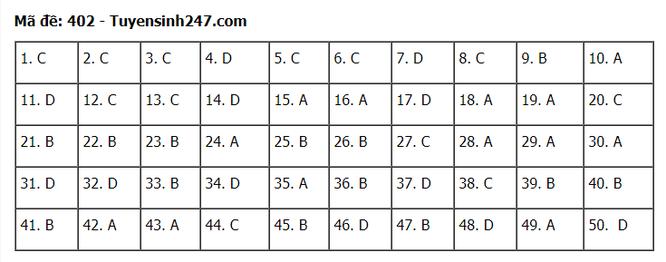 Tra cứu online đáp án đề thi tốt nghiệp THPT 2020 môn tiếng Anh mã đề 402 ảnh 1