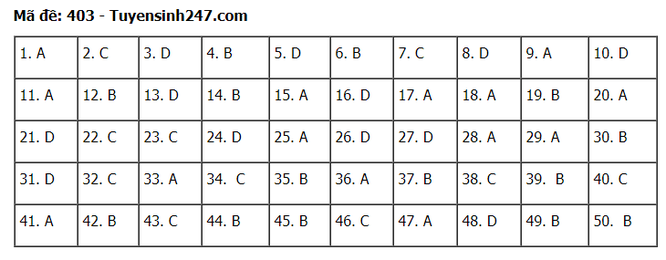 Tra cứu online đáp án đề thi tốt nghiệp THPT 2020 môn tiếng Anh mã đề 403 ảnh 1