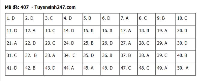 Tra cứu online đáp án đề thi tốt nghiệp THPT 2020 môn tiếng Anh mã đề 407 ảnh 1