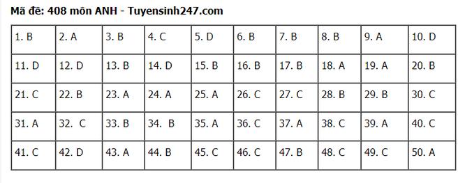 Tra cứu online đáp án đề thi tốt nghiệp THPT 2020 môn tiếng Anh mã đề 408 ảnh 1