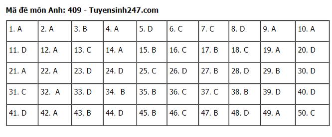 Tra cứu online đáp án đề thi tốt nghiệp THPT 2020 môn tiếng Anh mã đề 409 ảnh 1