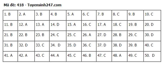 Tra cứu online đáp án đề thi tốt nghiệp THPT 2020 môn tiếng Anh mã đề 418 ảnh 1