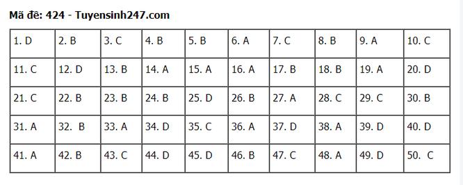 Tra cứu online đáp án đề thi tốt nghiệp THPT 2020 môn tiếng Anh mã đề 424 ảnh 1