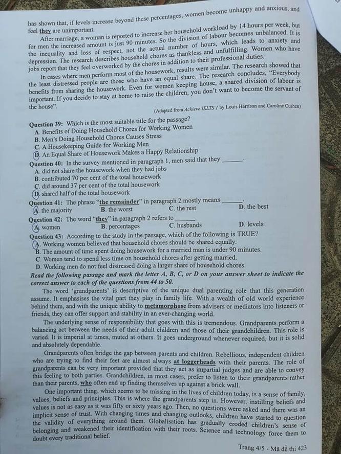 Tra cứu online đáp án đề thi môn tiếng Anh tốt nghiệp THPT 2020 đợt 2 ảnh 4