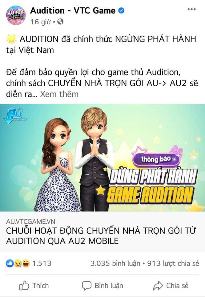 VTC Game chính thức đưa ra thông báo dừng phát hành Audition tại thị trường Việt Nam.