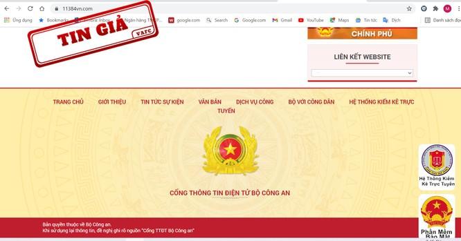 Cảnh giác với website giả mạo Cổng thông tin Bộ Công an để lừa đảo ảnh 1