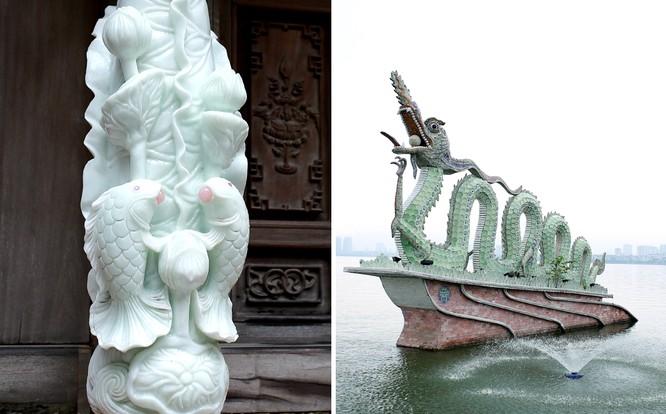 Đôi cá chép trắng ngậm ngọc trong chùa Vạn Niên và đôi rồng chầu bên Hồ Tây