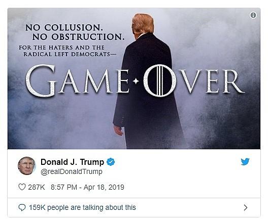 """Sau kết luận """"Không có sự thông đồng với Nga"""", Tổng thống Trump tuyên bố: Trò chơi đã kết thúc! ảnh 2"""