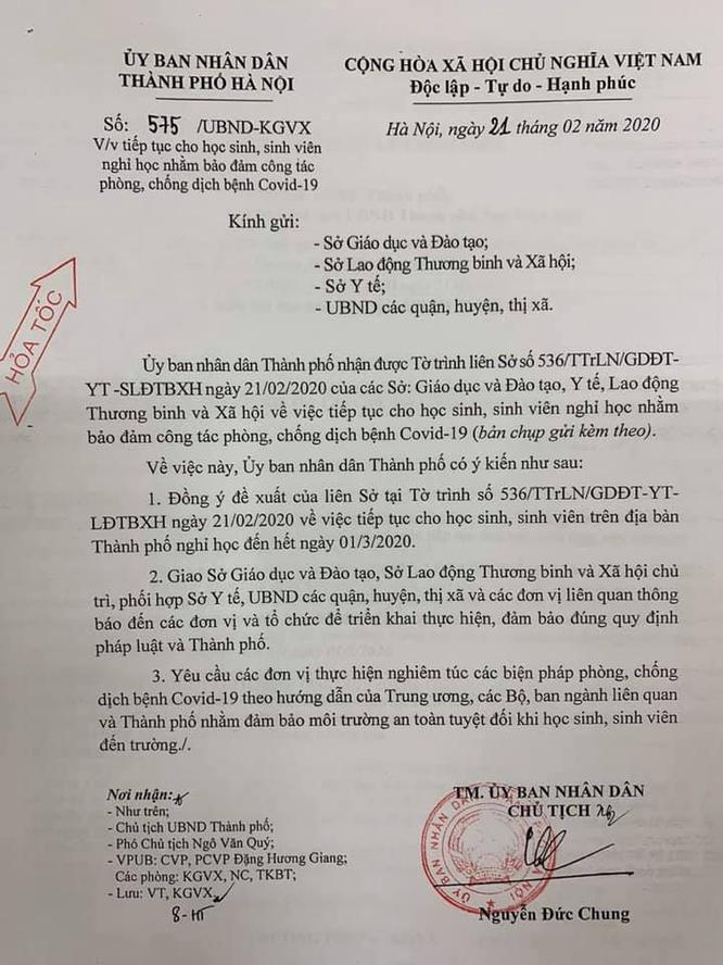 Hà Nội: Học sinh tiếp tục nghỉ học đến hết ngày 1/3 để phòng dịch COVID-19 ảnh 1