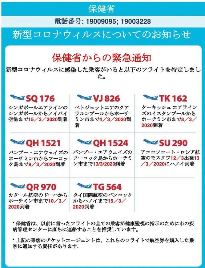 Bộ Y tế thông báo 8 chuyến bay có hành khách mắc COVID-19 bằng 9 thứ tiếng ảnh 7