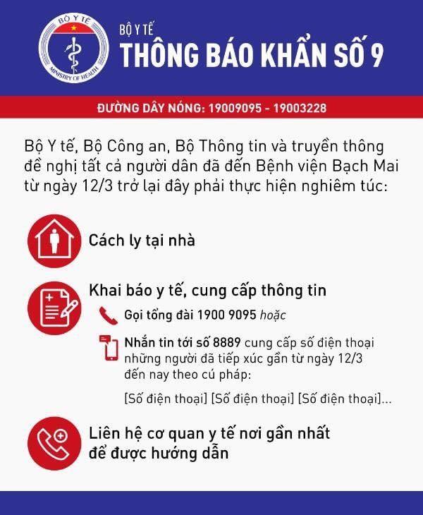 Khẩn: Tất cả người dân đến Bệnh viện Bạch Mai từ ngày 12/3 phải cách ly tại nhà, khai báo y tế ảnh 1