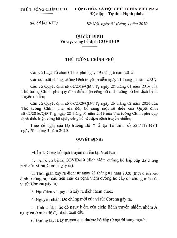 Thủ tướng công bố dịch COVID-19 toàn quốc ảnh 1