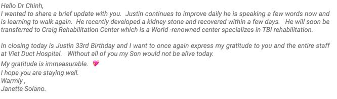 Mẹ bệnh nhân người Mỹ gửi thư cảm ơn bác sĩ đã cứu sống con trai sau khi mắc kẹt 100 ngày ở Việt Nam ảnh 1
