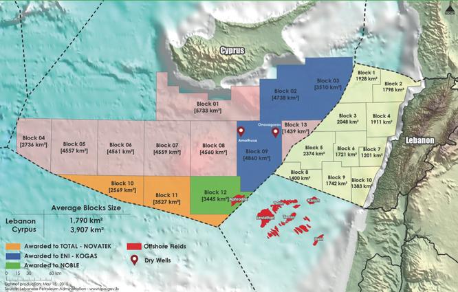 Các vùng dầu khí tiềm năng tại Lebanon.