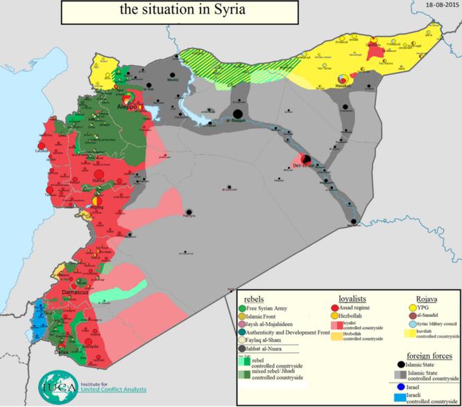 Bản đồ khu vực quân chính phủ Syria bị bao vây tháng 8.2015. Màu đỏ: quân chính phủ Syria. Màu đen xám: các vùng IS đóng quân và kiểm soát.