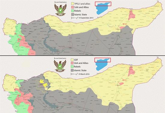 Bản đồ khu vực lực lượng SDF do Mỹ chống lưng tấn công IS từ tháng 9.2015 cho tới tháng 3.2016.