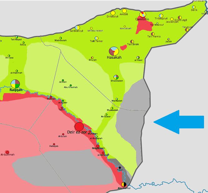 Khu vực IS kiểm soát tại phía đông sông Euphrates không bị liên minh do Mỹ lãnh đạo tấn công, tháng 12.2017.