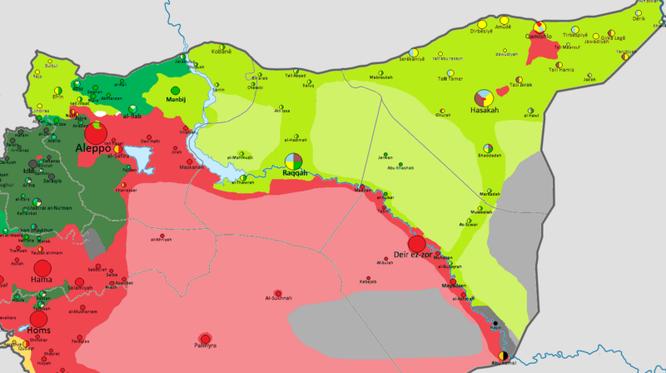 Vùng đông bắc Syria tháng 12.2017. Màu đỏ: lực lượng quân chính phủ Syria. Xanh: lực lượng SDF.