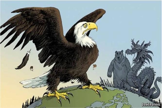 Đại bàng Mỹ đang thách thức cả gấu Nga lẫn rồng Trung Quốc.