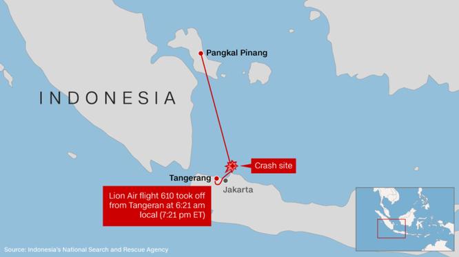 189 người mất tích trên máy bay Indonesia Lion Air rơi khi bay từ Jakarta tới Pangkal Pinang ảnh 2