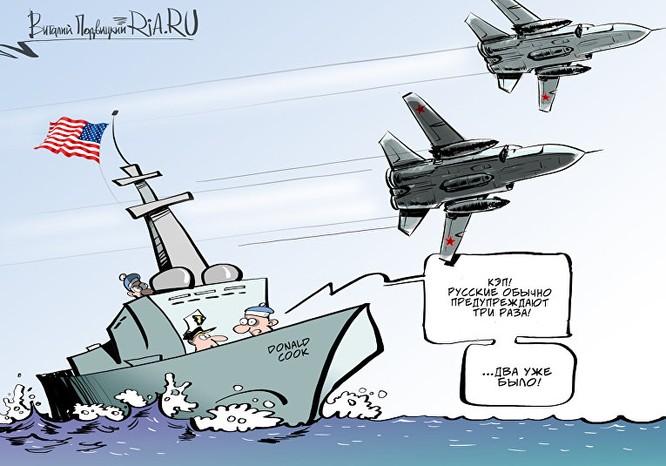 Biếm hoạ của báo chí Nga về vụ cặp Su-24 Nga bay áp sát tàu chiến Mỹ.