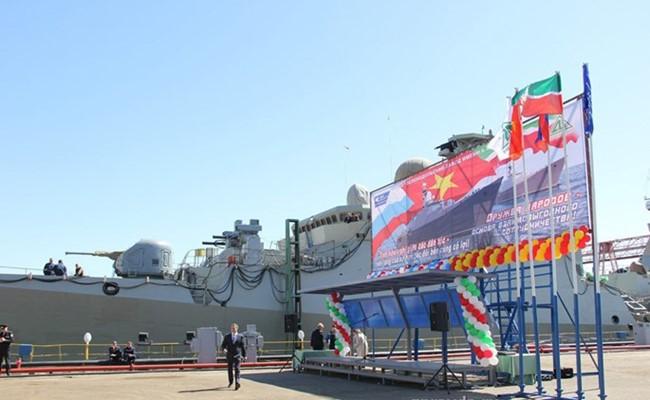 Chiến hạm Gepard 3.9 thứ 3 của VN trong lễ hạ thuỷ.