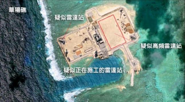 Trung Quốc xây dựng bất hợp pháp trạm radar cao tần ở đá Châu Viên, quần đảo Trường Sa, Việt Nam.
