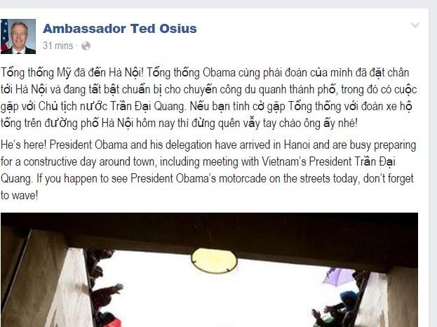 """Đại sứ Ted Osius: """"Nếu tình cờ gặp Tổng thống, hãy vẫy tay chào ông ấy"""" ảnh 1"""