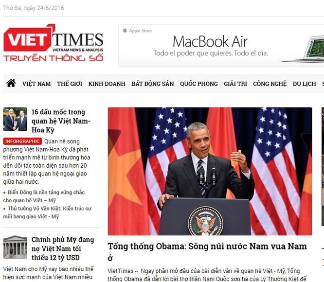 Tin tức về chuyến thăm của ông Obama xuất hiện nhiều trên các báo của Việt Nam.