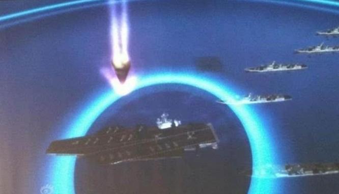 Hình ảnh mô phỏng tên lửa đạn đạo tầm trung Đông Phong-21D Trung Quốc tấn công tàu sân bay xuất hiện trên mạng. Nguồn ảnh: Sina Trung Quốc