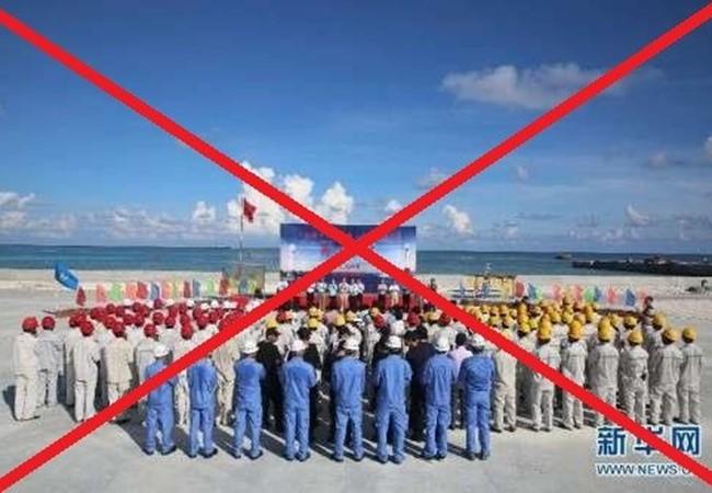 Lực lượng binh lính và công nhân Trung Quốc hoạt động bất hợp pháp tại đá Chữ Thập, Trường Sa, Khánh Hòa, Việt Nam, ảnh: Tân Hoa Xã.