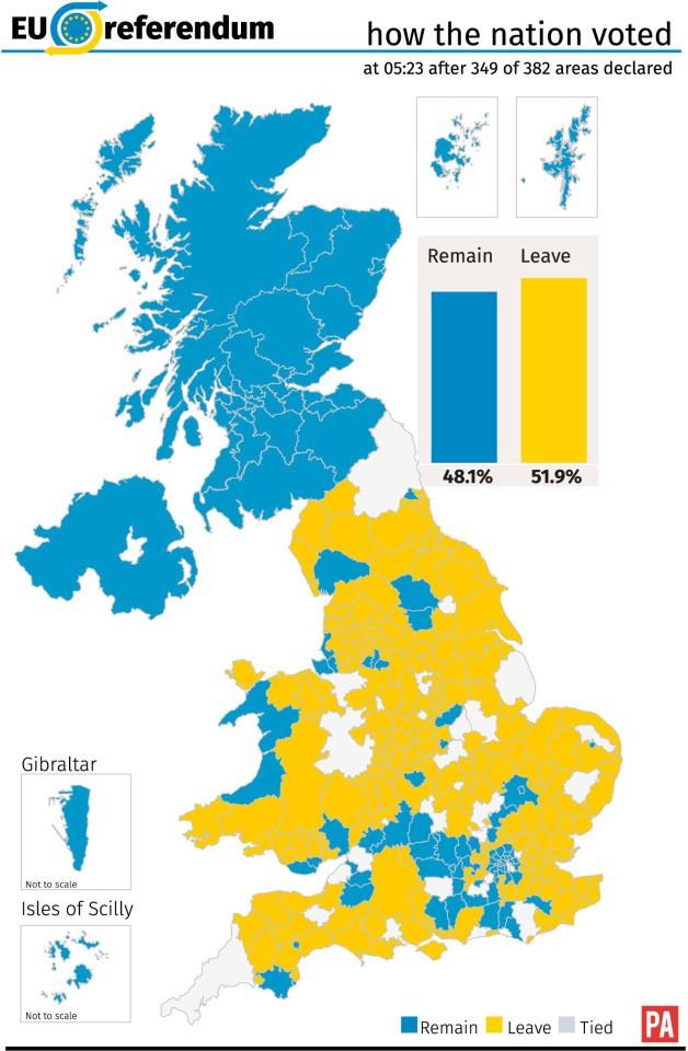 Kết quả trưng cầu Brexit.