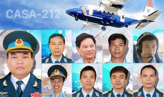 9 quân nhân trên máy bay tuần thám CASA-212 số hiệu 8983 gặp nạn. Ảnh: VNE.