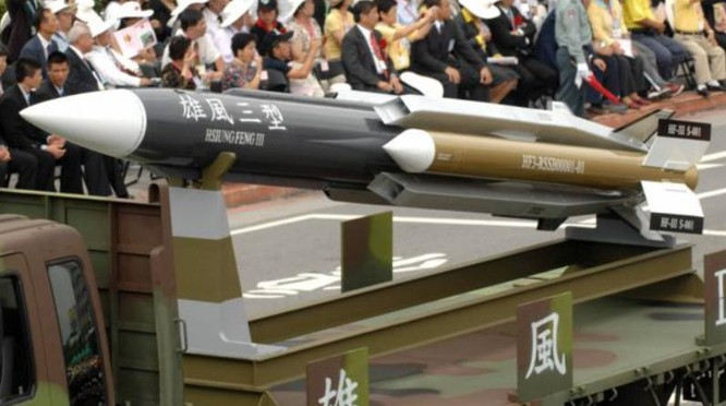 Tên lửa chống hạm siêu âm Hùng Phong-3 Đài Loan. Ảnh: BBC Anh.