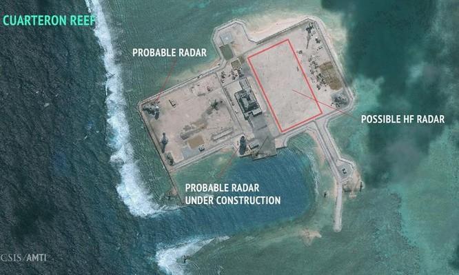 rung Quốc xây dựng phi pháp trạm radar cao tần ở đá Châu Viên thuộc quần đảo Trường Sa của Việt Nam. Ảnh do AMTI của cơ quan nghiên cứu CSIS Mỹ công bố ngày 22/2/2016.