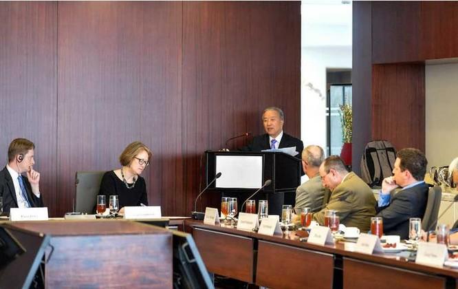 Đới Bỉnh Quốc, nguyên Ủy viên Quốc vụ Trung Quốc phát biểu tại Trung tâm nghiên cứu các vấn đề chiến lược và quốc tế Mỹ.